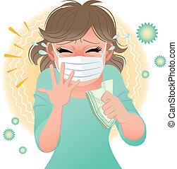Big sneeze! - Woman suffering from pollen allergies sneezes....