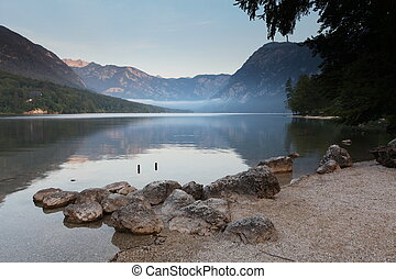 Beautiful view. Lake, mountain, reflection. Lake Bohinj....