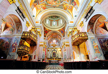 Interior of Cathedral Saint Nicholas in Ljubljana - Slovenia