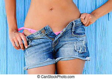 mulher, Calças brim, Texas, shorts