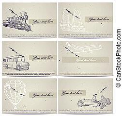 Set of vintage transport cards. Vector illustration EPS8