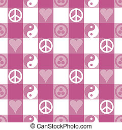 Peace Plaid in Pink - Peace Plaid seamless pattern in blue...