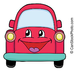 Cute red car, painted illustration
