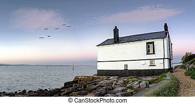 Old House on the Beach - Panorama of an old house on the...