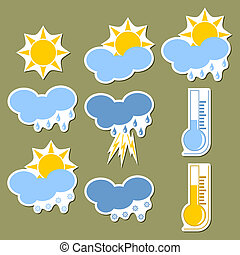 Weather forecast stickers - Set of stickers of a weather...
