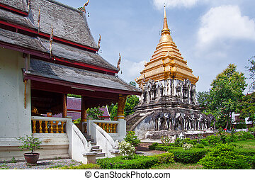 Ancient temple, Wat Chiang Man temple in Chiang Mai, Thailand.