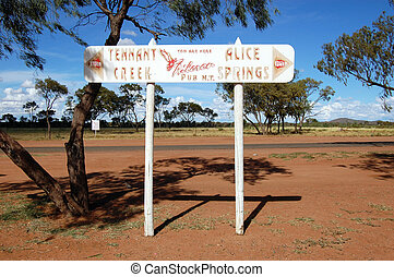 Road direction metal sign outback Australia
