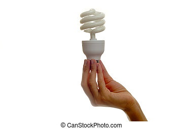 Save energy - Woman holding bulb over white background