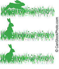 rabbit-set - rabbits on a meadow