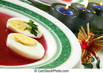 christmas table - christmas soup and candle
