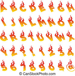 Fire Alphabet and Numbers