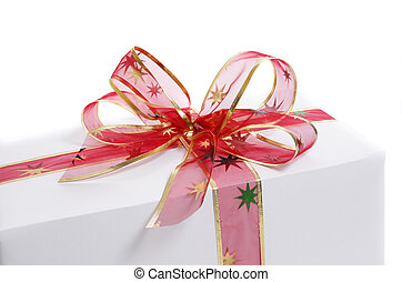 white gift - white box wrapped in red bow and ribbon