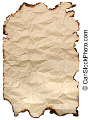 burnt paper - old burnt paper isolated on white
