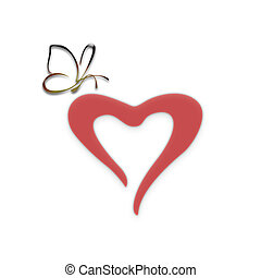 Heart with the butterfly - Figure heart with the butterfly...