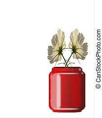 Posies in a Pot2 - Real Shasta\\\'s in a hand drawn red pot...