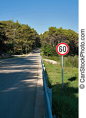 Speed limit sign - Countryside road by forest, 60 speed...