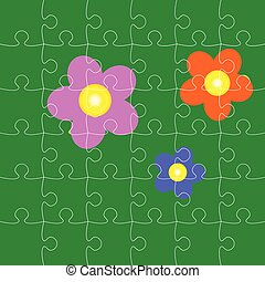 puzzles with flowers vector illustration