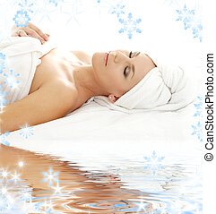 remedial on white sand - picture of beautiful lady relaxing...