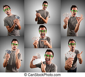 man playing poker with different expression set on grey...