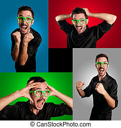 set of screaming guy on colorful backgrounds