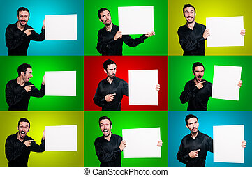 set of man holding boards with signs and symbols on colorful...