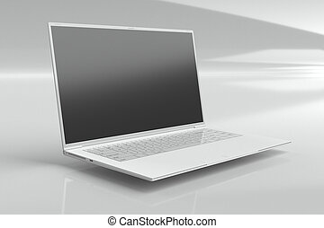 one white ultrabook (leptop) - 3d rendering image. Topic:...
