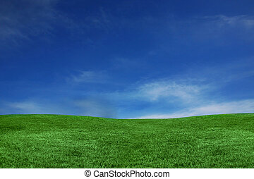 Blue Sky and Green Grass Landscape - Empty Landscape Only...