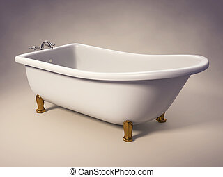 Bathtub - A cast-iron standing bathtub on white with...