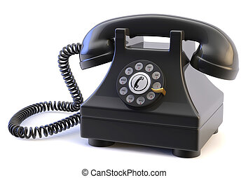Rotary Phone - Photo of a retro rotary phone isolated on a...