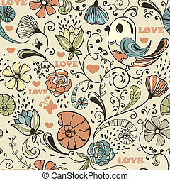 Vector Seamless Spring Pattern - Vector seamless spring...