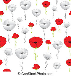 Poppy background - Flower seamless background. Poppy vector....