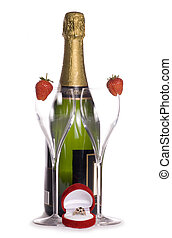 Champagne and engagement ring cutout