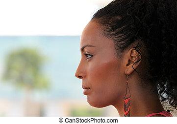 orecchini, acconciatura, donna,  afro, nero