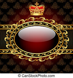 background with a gold crown and a circle of glass