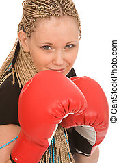 fighter - woman with red boxing gloves on a white background
