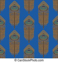 peacock feathers, seamless vector pattern - seamless pattern...