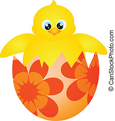 Easter Chick Hatching Illustration - Yellow Chick Hatching...