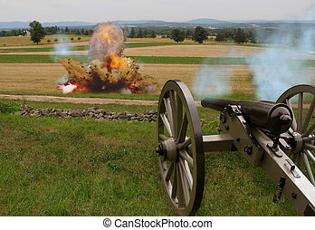 Civil War Cannon with Explosion from artillery shell