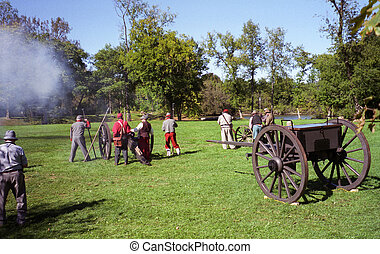 Civil War Reenactment - Image of Confederate Reenactors...