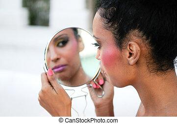 bonito, pretas, menina, espelho