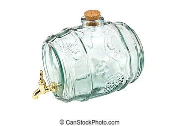 Decanter - A barrel-shaped glass decanter isolated on white