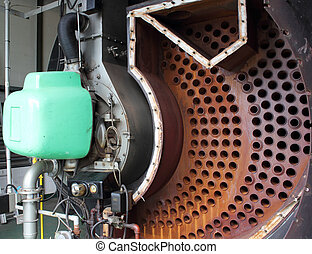 Industrial steam boiler opened for clean inspection