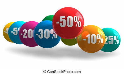 Sale and discount concept: group of color bouncing balls...