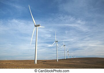energy wind mills at the country of facinas village in cadiz...