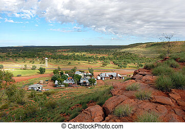 Service station in outback Australia hill view - Service...
