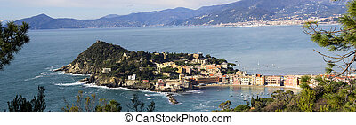 aerial view of Sestri Levante with its characteristic...