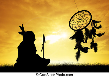 Indian tribes - Indian at sunset