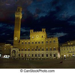 Piazza del Campo at night - A shot of Piazza del Campo in...