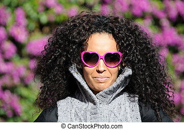 Funny black girl with purple heart glasses - Funny black...