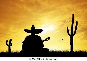 Mexican man at sunset